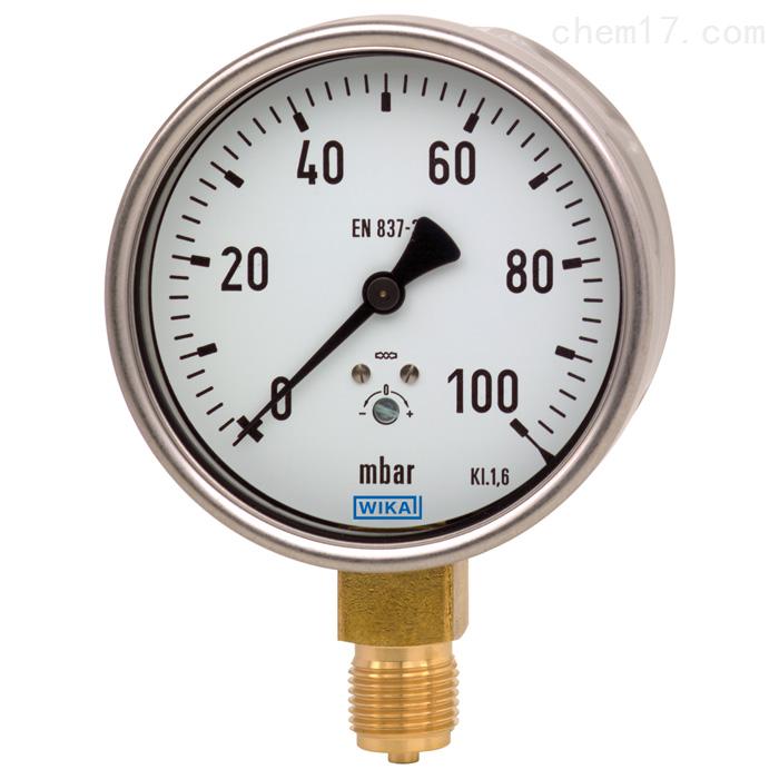 德国WIKA威卡膜盒式压力表,铜合金材质