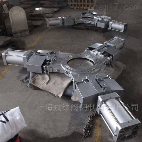 不锈钢气动三开式插板阀