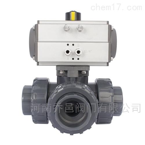 气动UPVC塑料三通球阀 气动硬聚氯乙烯三通球阀