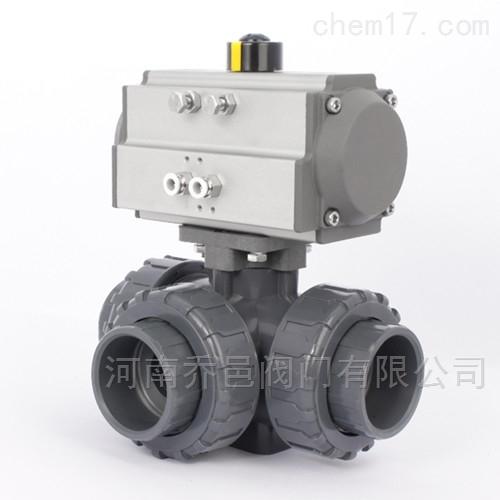 Q624F<strong>气动UPVC塑料T型L型三通球阀</strong>Q625F气动UPVC三通球阀