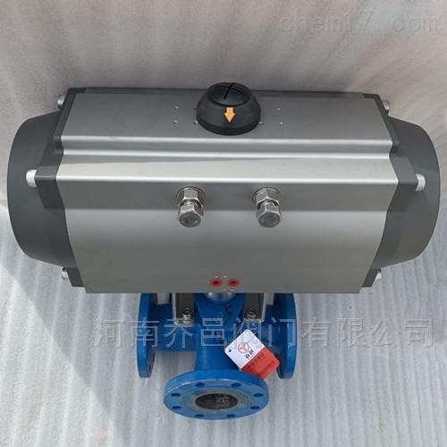 拌合站气动三通沥青阀 高温导热油拌热气动保温沥青旋塞阀